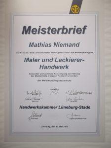 Der Meisterbrief des Malermeisters Mathias Niemand