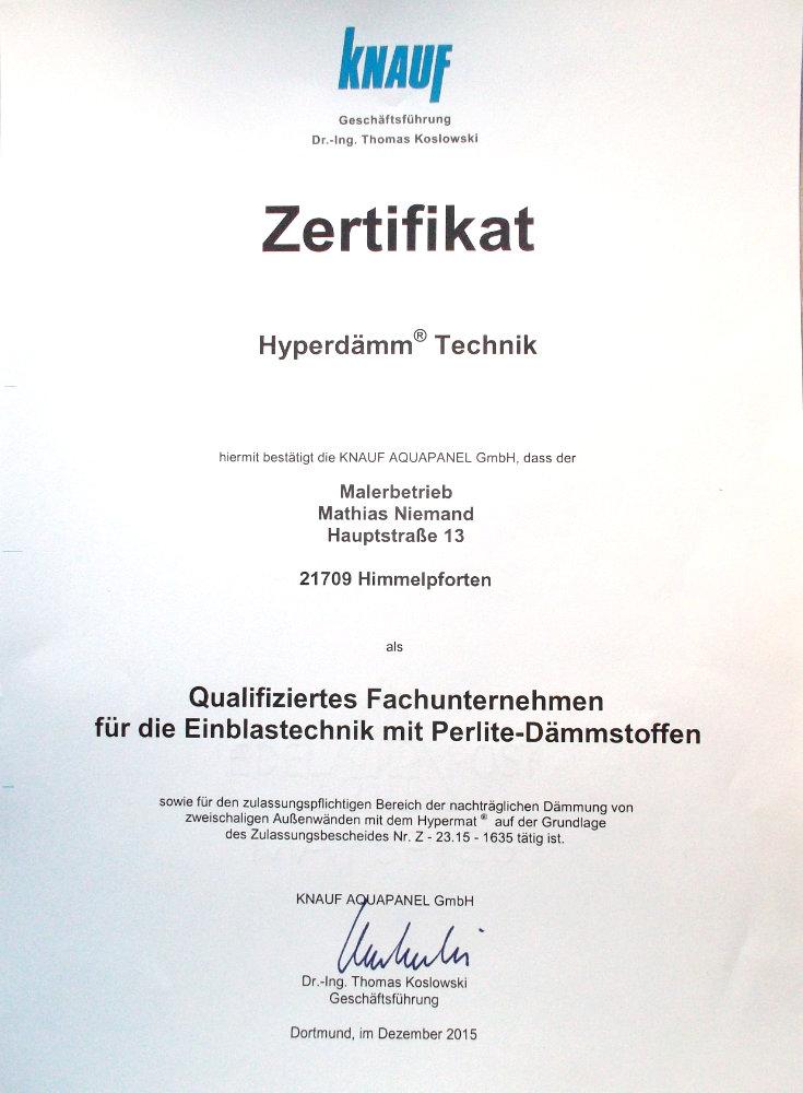 Zertifikat KNAUF Hyperdämmtechnik