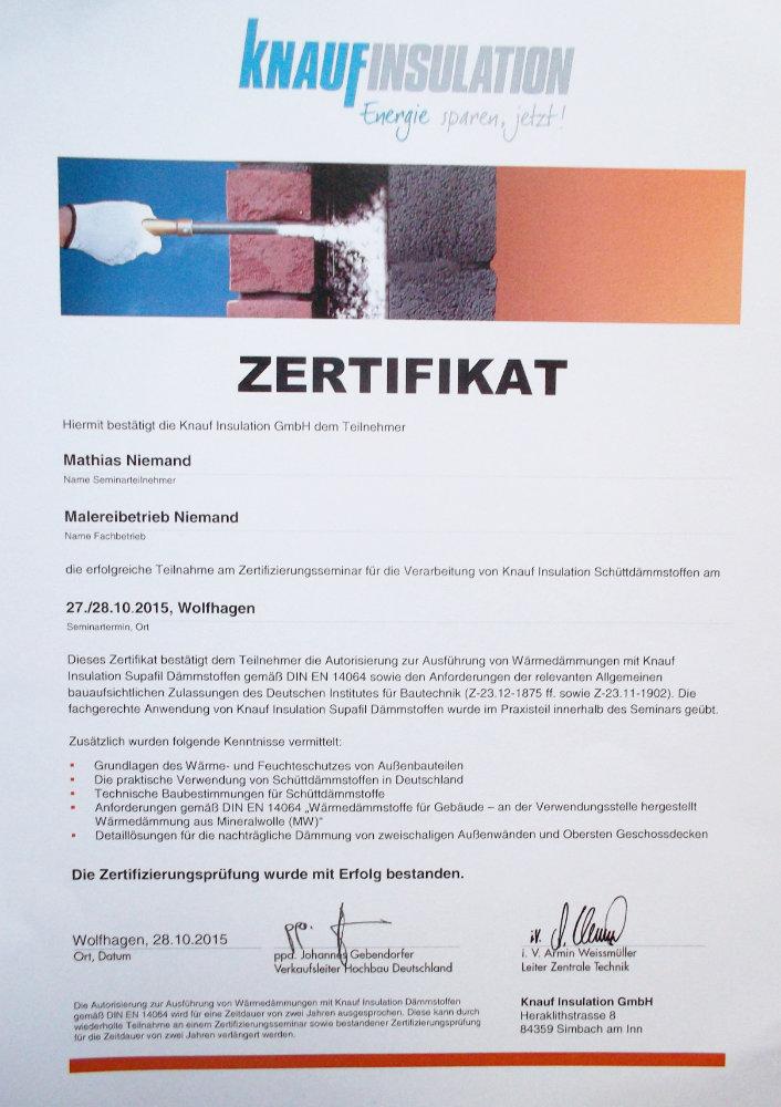 Zertifikat - Knaufinsulation